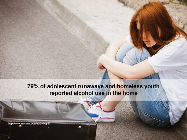 79% of adolescent runaways and homeless youth reported alcohol use in the home thumbnail