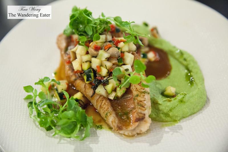 Cod fish, artichoke and radish, sorrel sauce, sausage