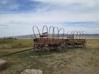 Wagon replicas at Castle of Rocks Information Center