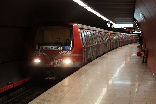 Astra IVA train arrives into the line M4 platforms at Basarab