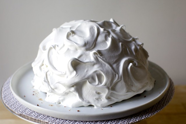 meringue swirled, like an old-school shower cap