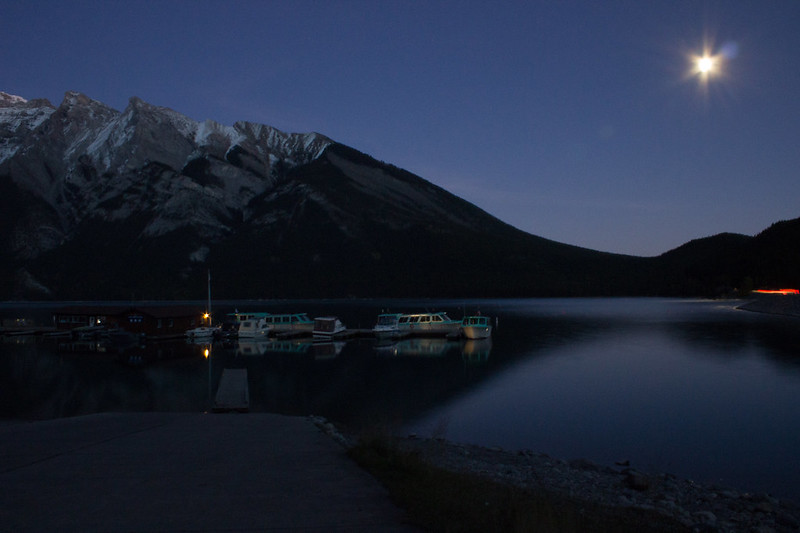 Night sky, Lake Minnewanka