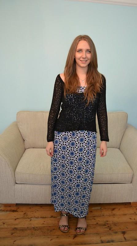 JD Williams Blue Tile Print Maxi Dress 9