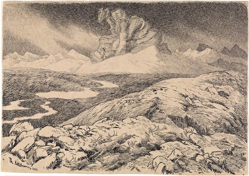 "Theodor Kittelsen - A Jutulhogget match, Illustration for ""Troldskab"" 1892"
