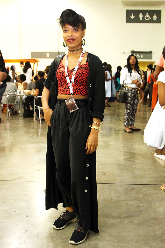 kitenge-ankara-chitenge-African-print-crop-top-with-black-high-waisted-trousers-and-long-duster-coat<br />
