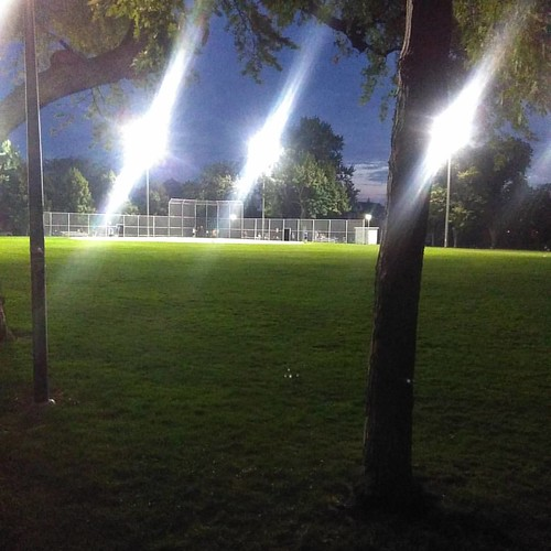 Night game #toronto #dovercourtvillage #dovercourtpark #night #baseball #sports