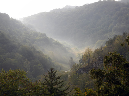 View of the mountains in mist in Covadonga, Spain