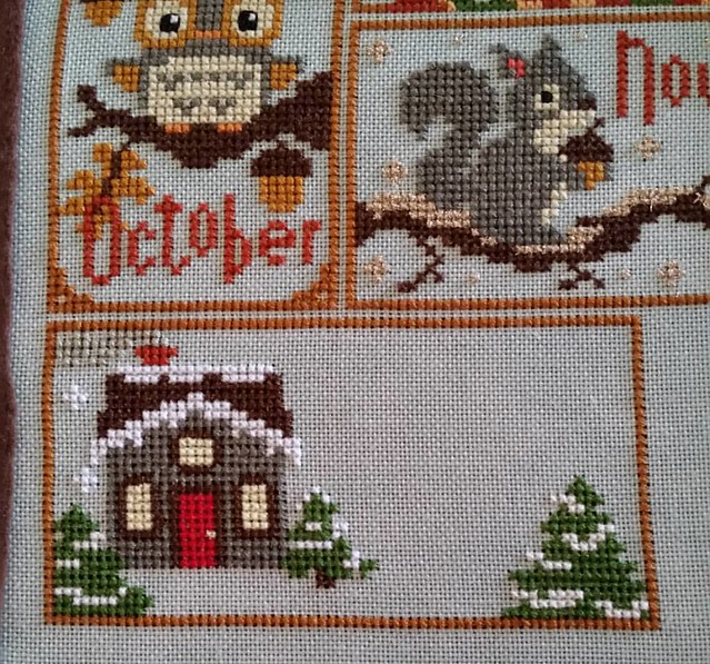 Decided that since I started this in 2013 I should finish it this year .   Made a little progress on December.  #crossstitch #thefrostedpumpkinstitchery