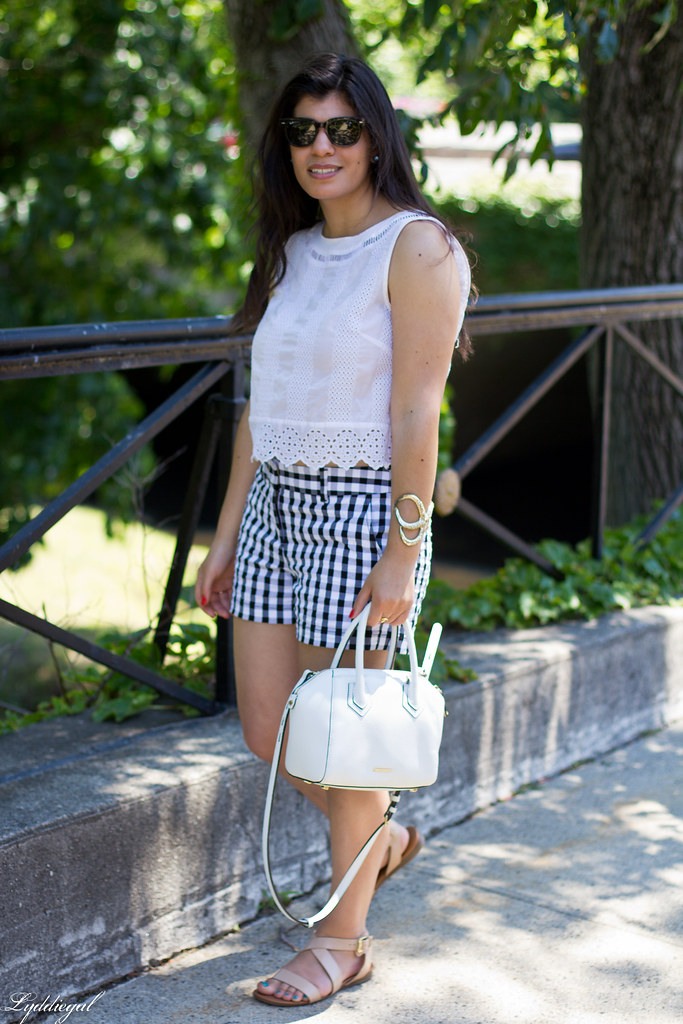 white eyelet lace crop top, gingham shorts, nude sandals-7.jpg