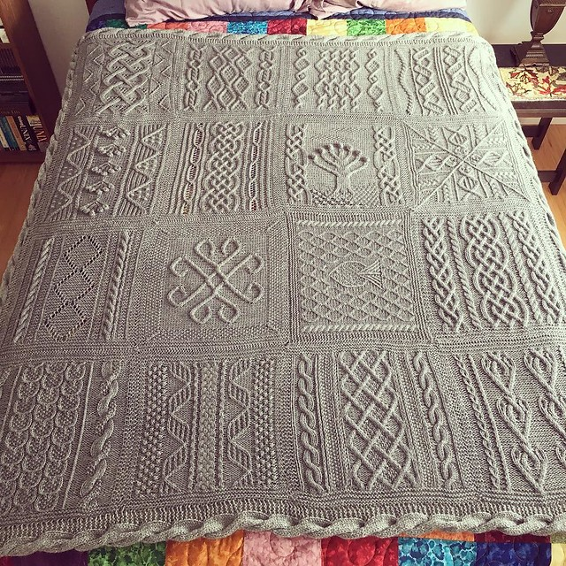 The afghan is done. Cabled border complete, washed and dry. Ready for the fair. #knitting #greatamericanaranafghan