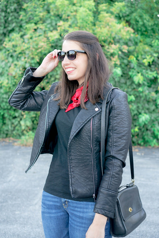 leather jacket + black tee + red bandana + boyfriend jeans + loafers | Style On Target blog