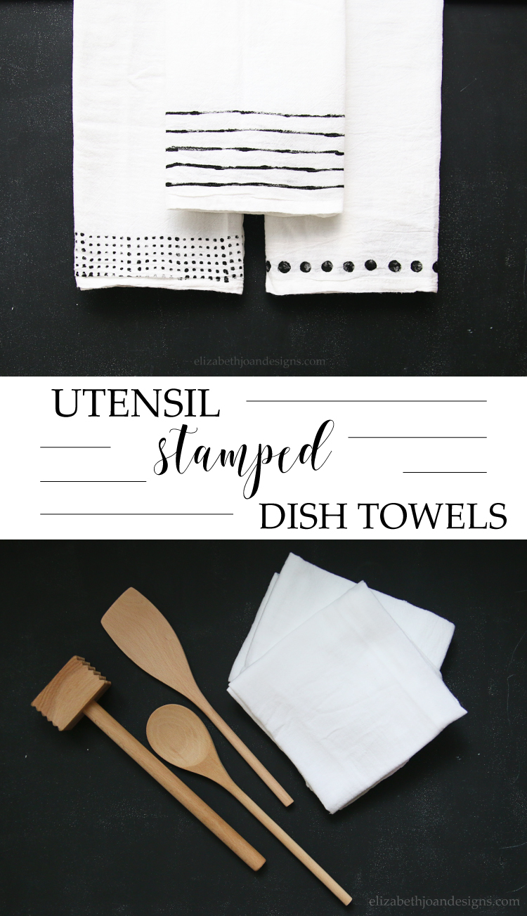 Utensils Stamped Dish Towels - a 5 minute craft that would make a great gift idea~