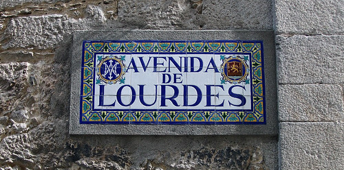 Tile sign for the Avenida de Lourdes in Viveiro, Spain