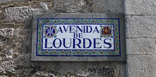 Tile sign for the Avenida de Lourdes in Viveiro, Spain