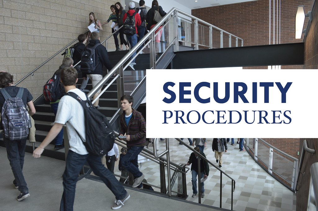 High school students walking in stairwell with overlay text 'Security Procedures'