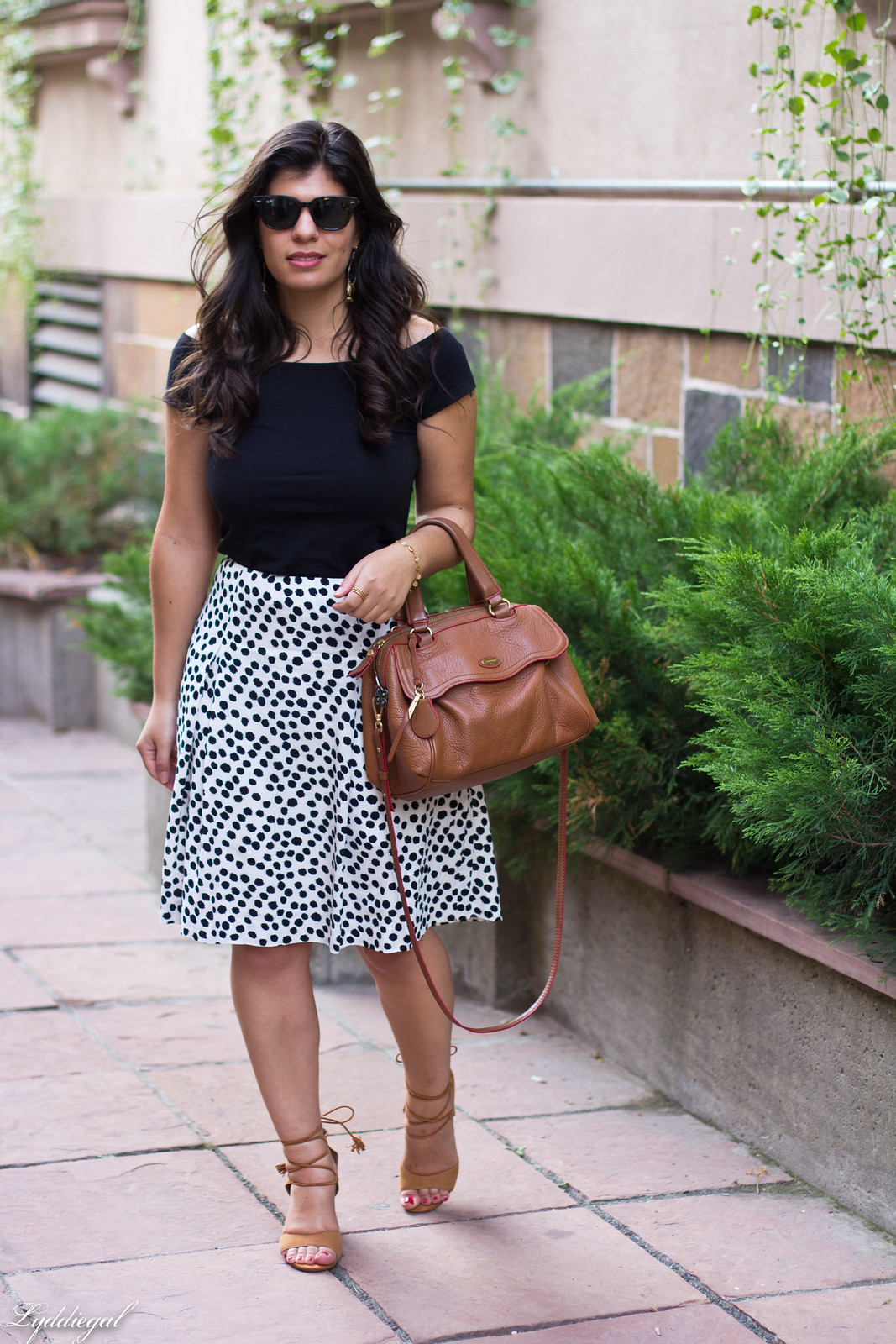 dalmatian print skirt, off the shoulder tee, lace up heels-2.jpg