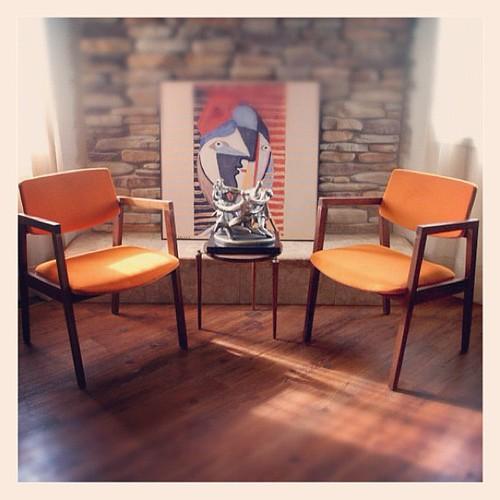 MID CENTURY MODERN Chairs Burnt Orange Danish Modern Style