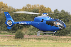 G-SKPP - 2006 build Eurocopter EC120B Colibri, inbound to the JetA1 pad at Barton