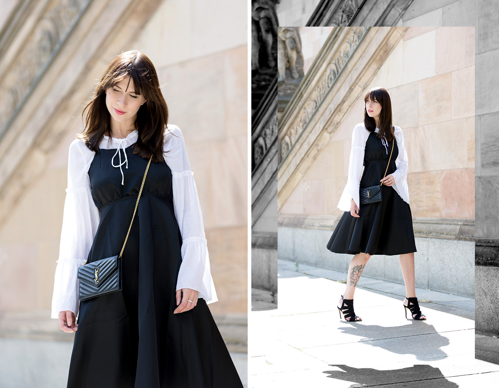berlin museumsinsel black dress over white shirt chic ysl saint laurent mini bag pochette parisienne styling look blogger fashionblogger ootd lookbook black white rock stylish sexy parisienne cats & dogs fashionblogger ricarda schernus 5