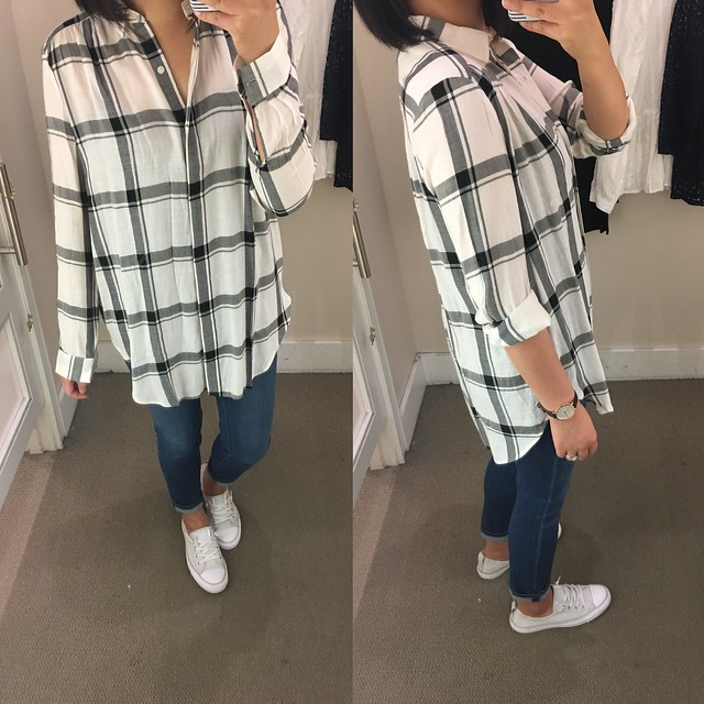 Plaid Tunic Softened Shirt, size XS regular