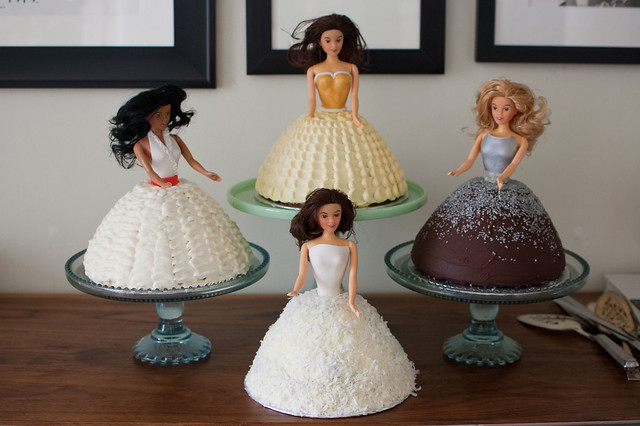 quadruple barbie cake