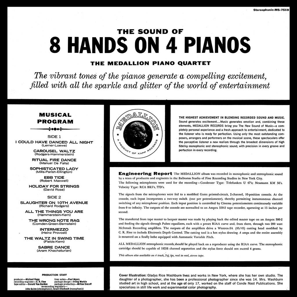 The Medallion Piano Quartet ‎– The Sound Of 8 Hands On 4 Pianos
