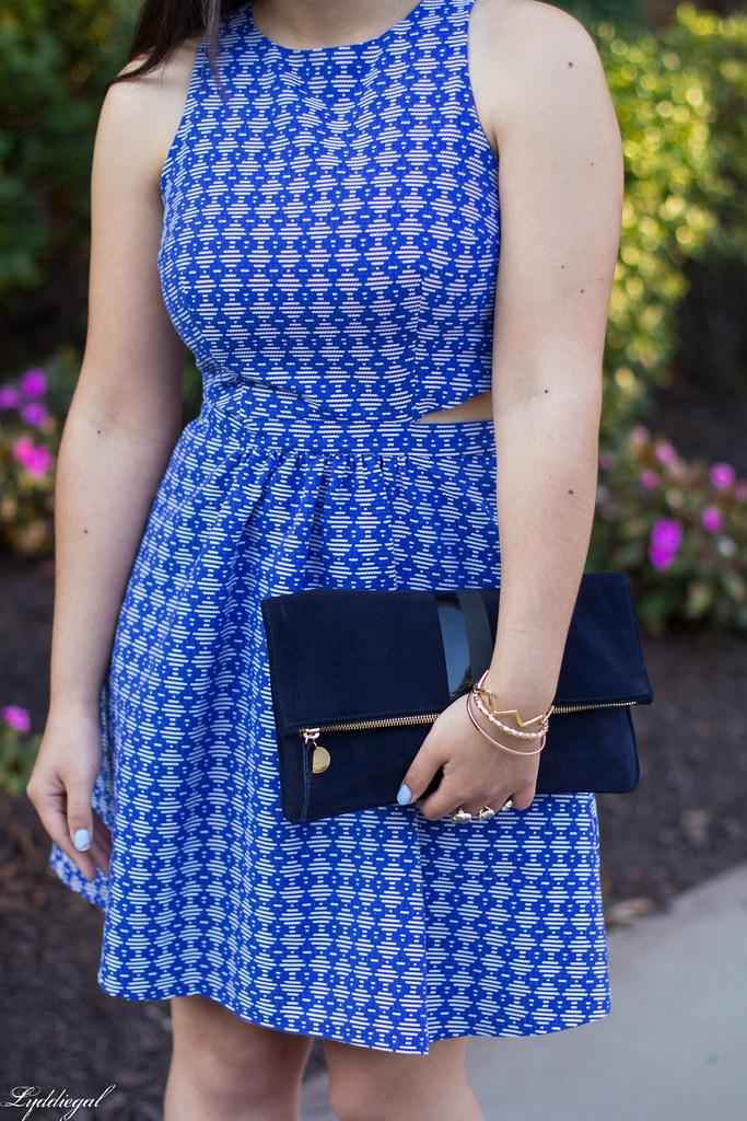 blue print cutout dress, fringe pumps, clare v clutch-6.jpg