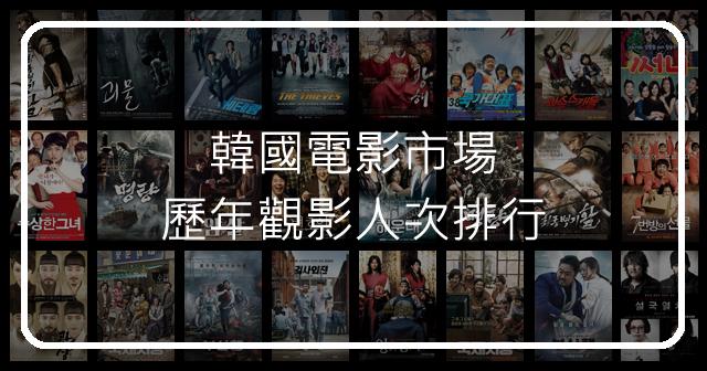 韓國電影市場歷年觀影人次排行Top 20!