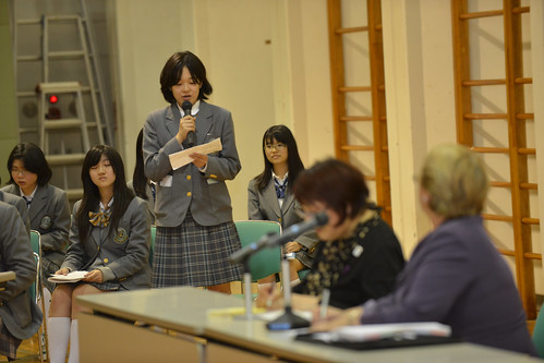 UN Women Executive Director Michelle Bachelet participates in an interactive discussion with students from Shibuya Junior and Senior High School on 12 November 2012 | by UN Women Gallery