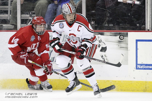 14 Dec 2012: Cody Murphy (Miami - 14), Curtis Gedig (OSU - 8)  The Miami RedHawks beat the Ohio State Buckeyes in a shootout at Value City Arena in Columbus, OH.  (Inside Hockey - Rachel Lewis) | by insidehockey