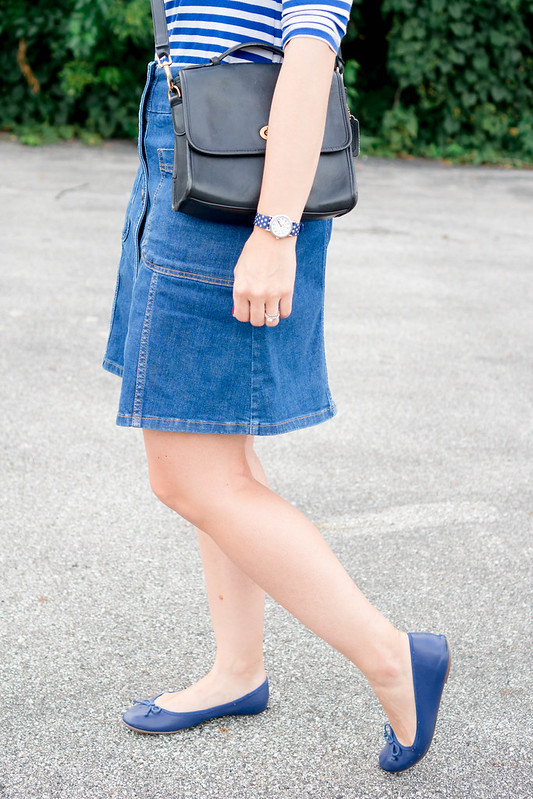 Colts football hat + blue and white stripe tee + Boden denim button skirt + cobalt blue ballet flats | Style On Target blog