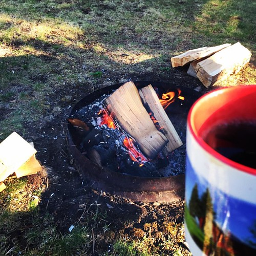 Not quite a cabin morning, but still a lovely way to start the day! #morningfire #sittingstillforaday