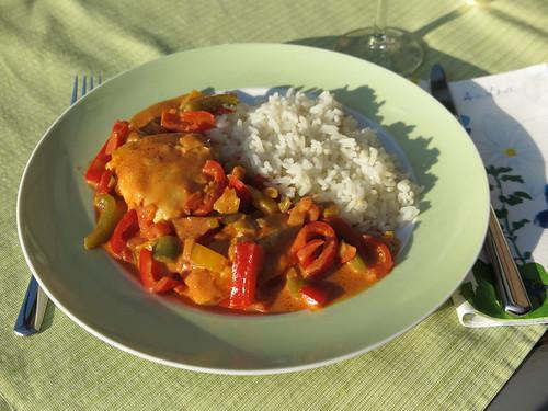"""Paprikahuhn ( = """"Türkisches Hähnchen"""") mit Reis"""