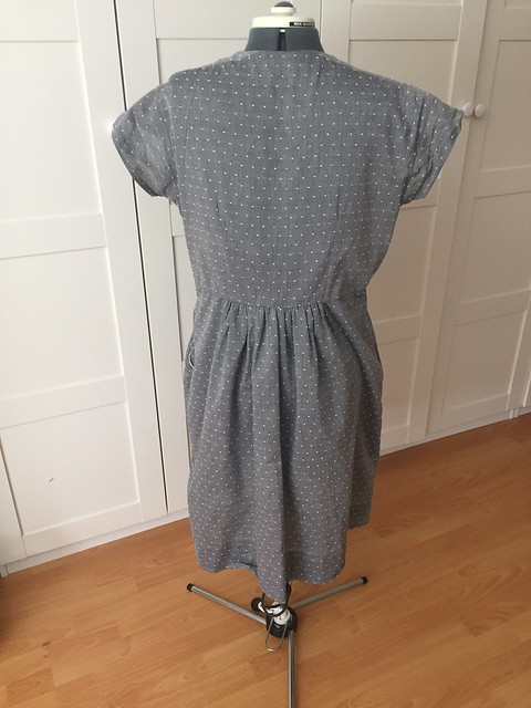 gray dotted swiss dress back
