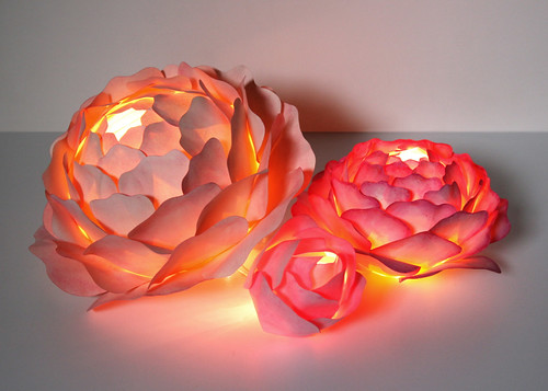 Painted Rose Centerpiece Created By Zipper 8 Lighting