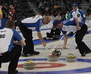 Edmonton Ab.Mar3,2013.Tim Hortons Brier.B.C. skip Andrew Bilesky,third Steve Kopf,second Derek Errington,lead Aaron Watson.CCA/michael burns photo | by seasonofchampions