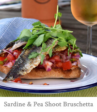 Sardine and Pea Shoot Bruschetta
