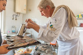 Chef Markus Iten cooking tilapia for the tasting test, Abbassa, Sharkia, Egypt. Photo by Heba El Begawi
