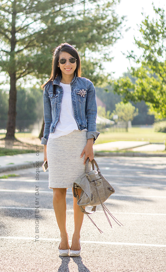 denim jacket, sparkly brooch, white tee, tweed pencil skirt, gray tote, striped espadrille wedges