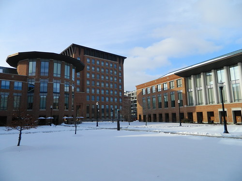 A shot of the Fisher courtyard covered in snow. | by Fisher_GPO