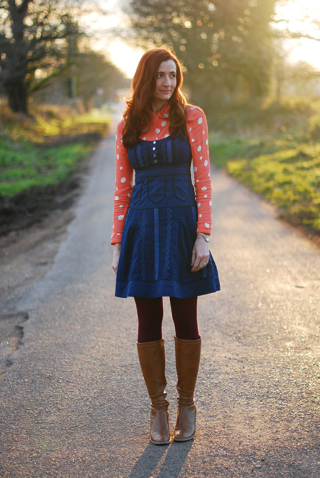 Polka dot shirt & navy pinafore dress