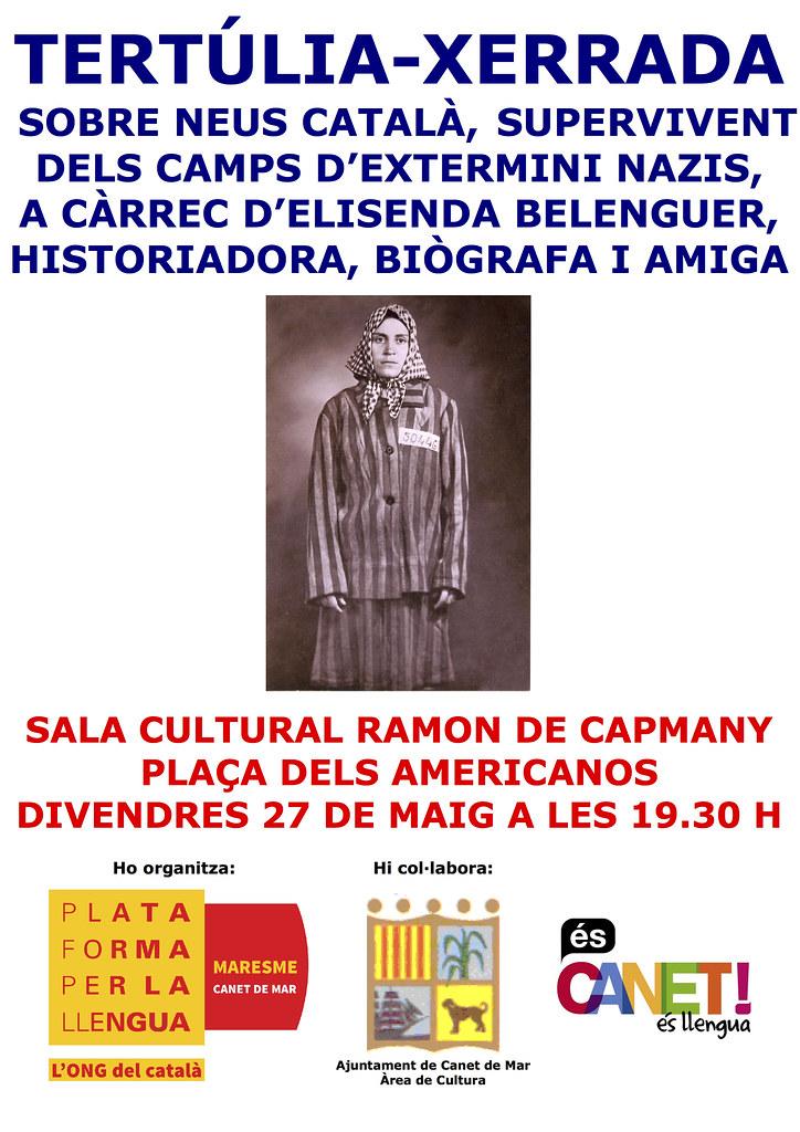 Cartell de la Tertúlia-xerrada sobre Neus Català, supervivent dels camps d'extermini nazis (Canet, 2016)