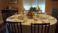 Dining room set with Rose Kennedy's wedding china