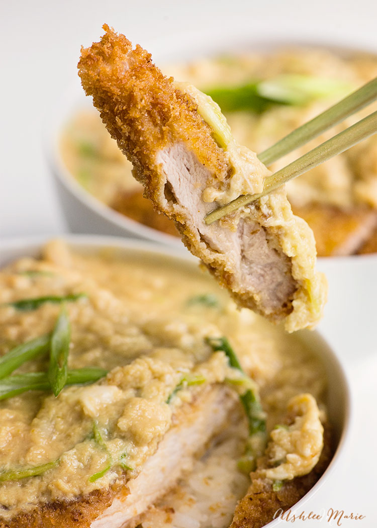 a video tutorial for this classic japanese dinner - katsudon - breaded pork cutlet topped with a sweet egg and onion sauce