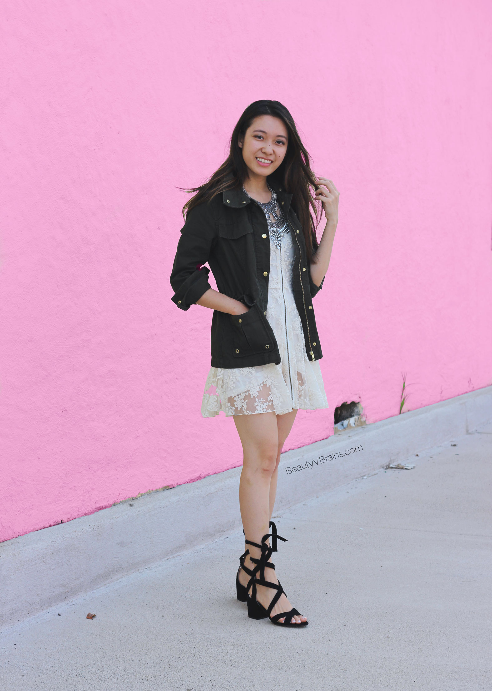 White lace dress and green military parka
