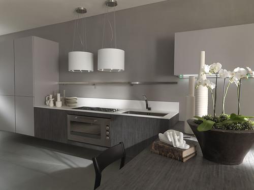 Cuisine contemporaine suspendue grise cuisine italienne - Cuisine contemporaine grise ...