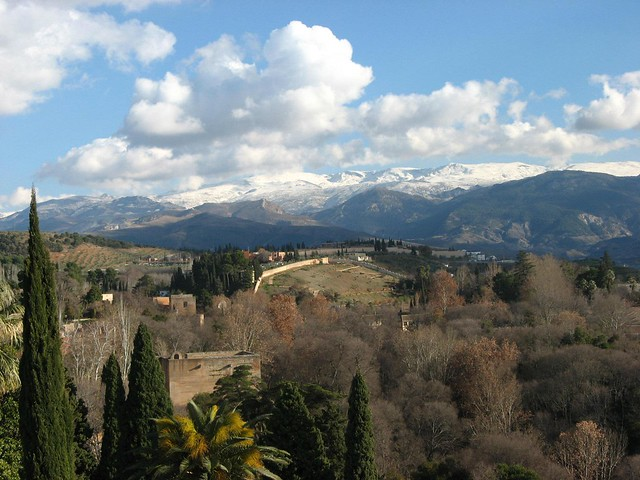 Sierra Nevada mountain range viewed from the Alhambra