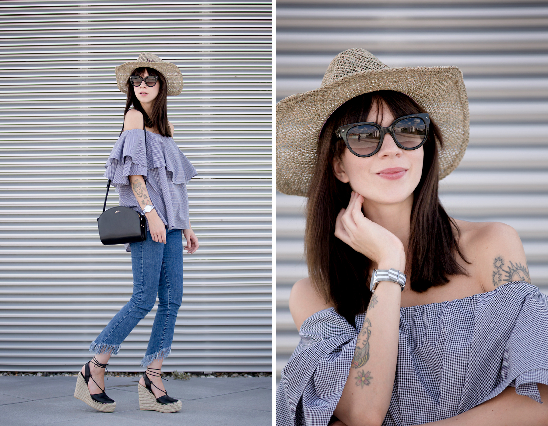 kapten&son watch mlm label off-shoulder blouse blue fringe jeans straw hat summer ootd look styling fashionblogger berlin modeblog cats & dogs ricarda schernus styleblogger 5