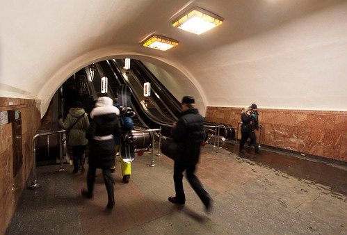 Arsenalna (Арсенальна) station is so deep, two sets of ~50 metre long escalators are required to reach the surface