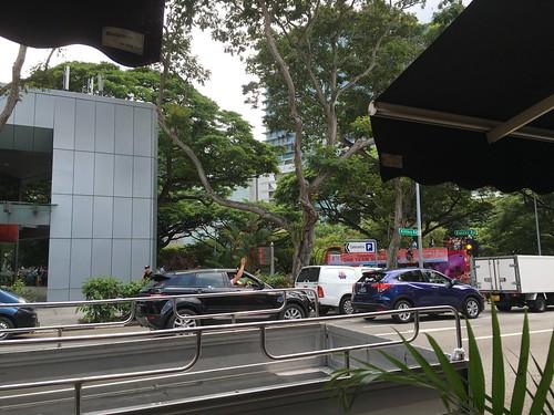 Joseph Schooling's victory parade bus passing Killiney, Singapore